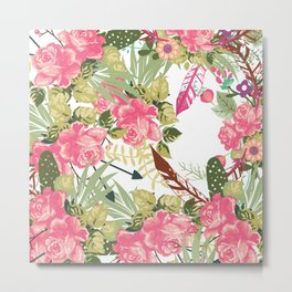 Trendy pink green botanical roses floral pattern Metal Print