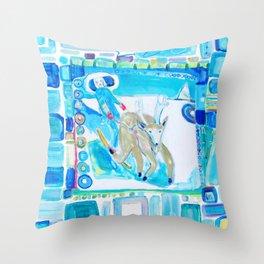 Ski Jouring Throw Pillow