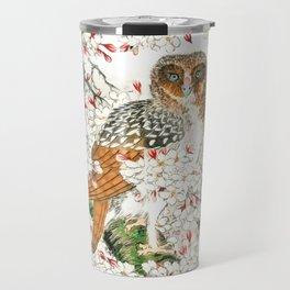 Owl and Cherry Flowers Travel Mug