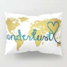 Wanderlust Gold Foil Map with Teal Glitter Text Pillow Sham