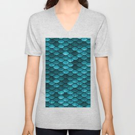 Beach house aqua blue mermaid fish Scales Unisex V-Neck
