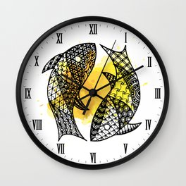 Zodiac Zentangle - Pisces Wall Clock