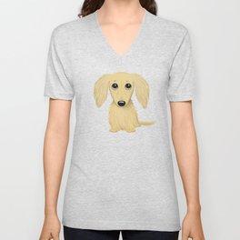 Longhaired Cream Dachshund Cartoon Dog Unisex V-Neck