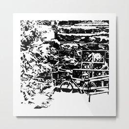 Bike In Snow Metal Print