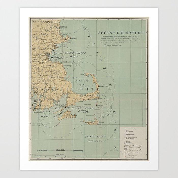 Vintage Massachusetts Lighthouse Map (1898) Kunstdrucke