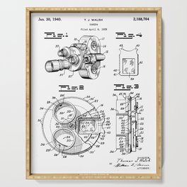 Movie Camera Patent - Film Camera Art - Black And White Serving Tray