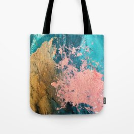 Coral Reef [1]: colorful abstract in blue, teal, gold, and pink Tote Bag