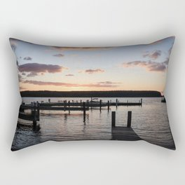 Autumn Sunset Over Great Lakes Docks - A Midwest Landscape Rectangular Pillow
