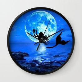 Moonlight Mermaid - Blue Wall Clock