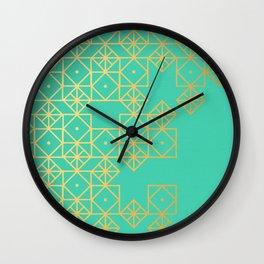 Geometric Turquoise Wall Clock