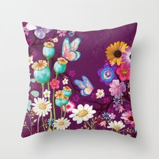 Purple Meadow Throw Pillow