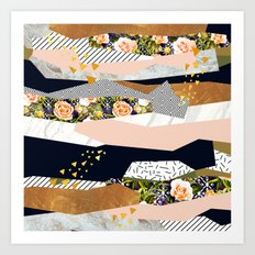 Collage of textured shapes and flowers Art Print
