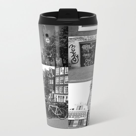 Photo collage Amsterdam 4 in black and white Metal Travel Mug