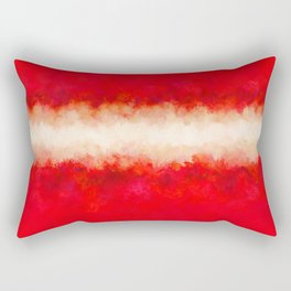 Bright Ruby Red & Cream Abstract Rectangular Pillow