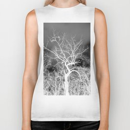 Naked trees forest, negative black and white photo Biker Tank