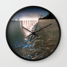 Golden Beach Night (Color) Wall Clock