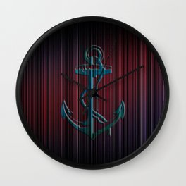 Blue Anchor With Stripes Colorful Wall Clock