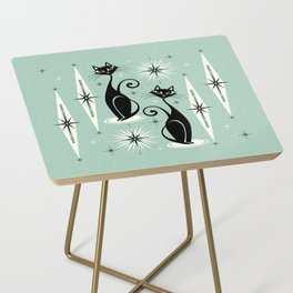 Mid Century Meow Retro Atomic Cats Mint Side Table