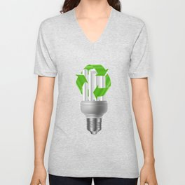 Energy saving bulb with recycle sign Unisex V-Neck