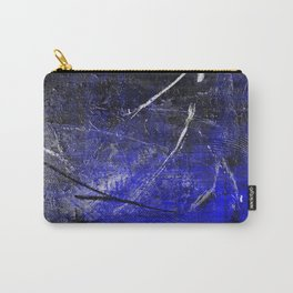 In The Dead Of Night - Textured Abstract In Blue, Black and White Carry-All Pouch