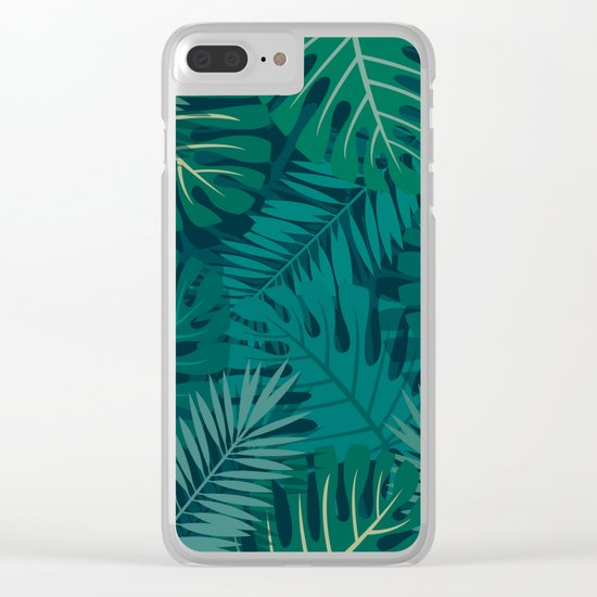 Dark Tropical Leaves Clear iPhone Case