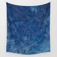 blues Wall Tapestries featuring BLUES by Dash of noir