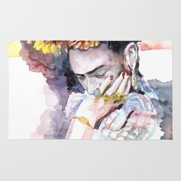 Frida Kahlo watercolor portrait Rug