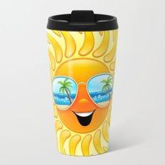Summer Sun Cartoon with Sunglasses Travel Mug