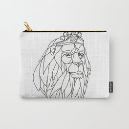 Lion Princess Wearing Tiara Mosaic Black and White Carry-All Pouch