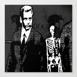 Dr. Hughes And The Skeleton In His Classroom Canvas Print