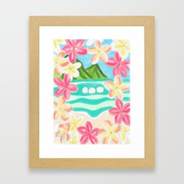 Plumeria ocean view Framed Art Print