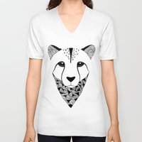cheetah V-neck T-shirts featuring Cheetah by Art & Be