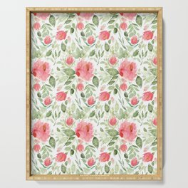 Painted Watercolour Garden Red Roses Serving Tray