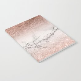 Modern faux rose gold glitter and foil ombre gradient on white marble color block Notebook