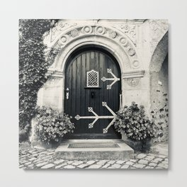 Open Me - Medieval Castle Door, Germany (Burg Lauenstein - Franconia - Bavaria) - Black and White Photo  Metal Print