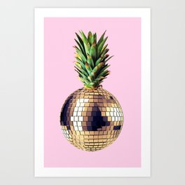 Ananas party (pineapple) Pink version Art Print