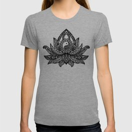Yin Yang Lotus - Black T-shirt