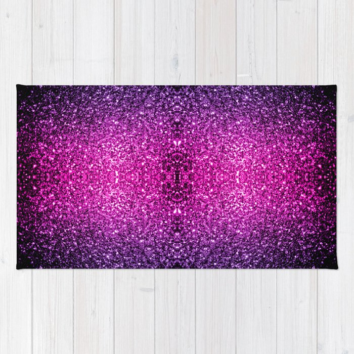 Purple Pink Ombre Glitter Sparkles Rug By Pldesign