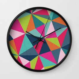 Geometric Triangle Pattern  - Spring Color Palette - Wall Clock