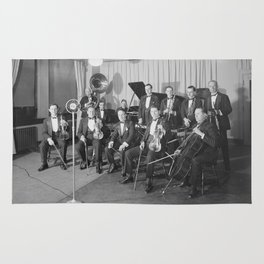 Vintage black and white photo of orchestra Rug
