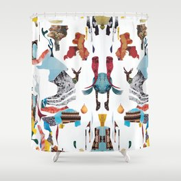 Delirium Analog Collage Shower Curtain