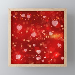 Sparkling red hearts valentines background Framed Mini Art Print