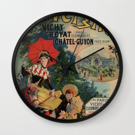 Vintage Auvergne French travel advertising Wall Clock
