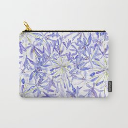 blue purple African lily watercolor painting Carry-All Pouch