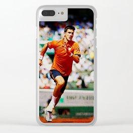 Novak Djokovic Tennis Chasing a Lob Clear iPhone Case
