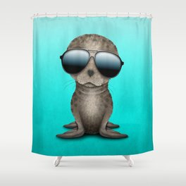 Cute Baby Sea Lion Wearing Sunglasses Shower Curtain