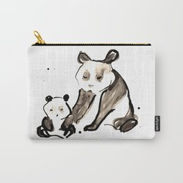 Mother and Baby Black Ink Panda Bears Illustration Carry-All Pouch