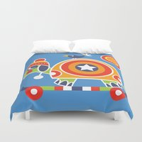 skateboard Duvet Covers featuring SKATEBOARD TORTOISE by Shirley Copperwhite