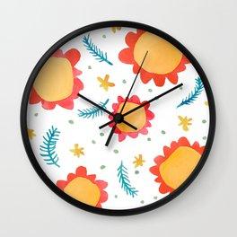 Painted Flowers orange Wall Clock