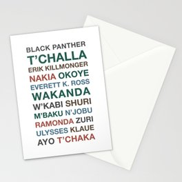 Black Panther Character Names Stationery Cards
